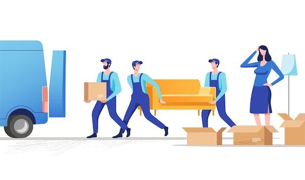 Déménagement, femme, emballer, trucs, pour, déménager, nouvelle maison, ou, appartement, hommes, porter, sofa, et, boîte carton, illustration