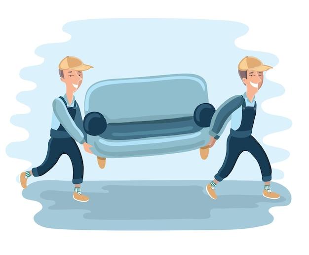 Les déménageurs de personnage de livraison drôle portent un canapé. illustration détaillée isolée sur fond blanc.