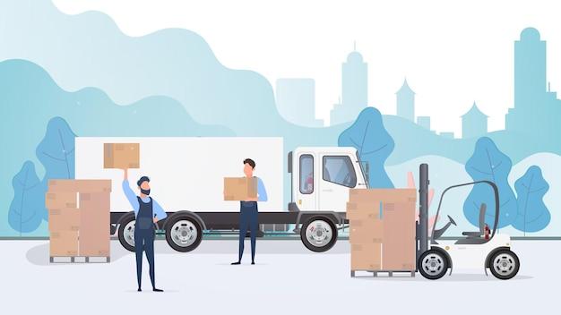Les déménageurs portent illustration de boîtes
