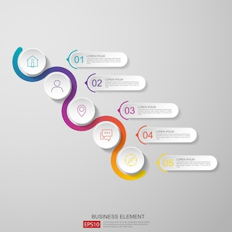 Demi-cercle abstrait pour le concept d'affaires infographique
