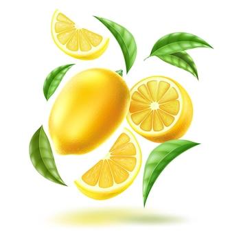 Demi-citron entier réaliste et tranches avec des feuilles en mouvement tourbillon