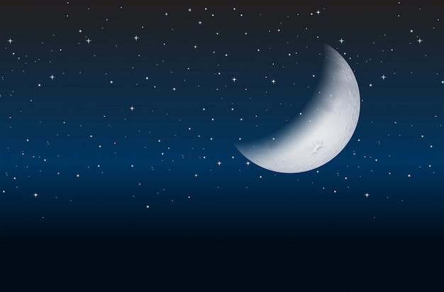 Demi lune sur ciel