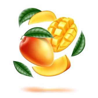 Demi-mangue entière réaliste et cubes tranchés avec des feuilles en mouvement tourbillon fruit exotique juteux
