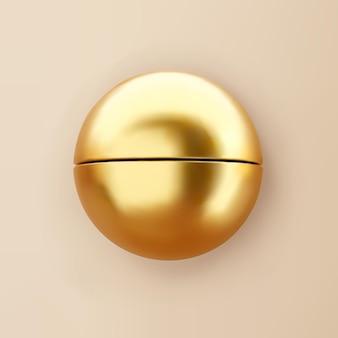 Demi-sphère de forme géométrique de rendu 3d avec des ombres isolées sur fond. primitif réaliste brillant doré. figure vectorielle décorative abstraite pour un design branché.