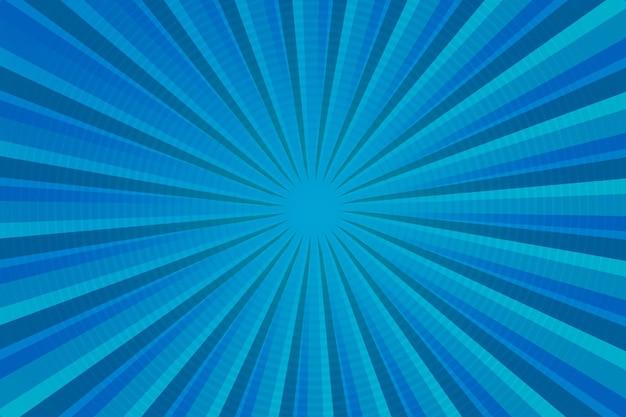 Demi-teinte bleu moderne, rayons lumineux, fond abstrait de style bande dessinée avec fond