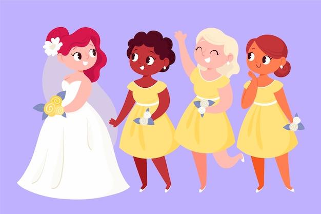 Demoiselles d'honneur de dessin animé avec la mariée