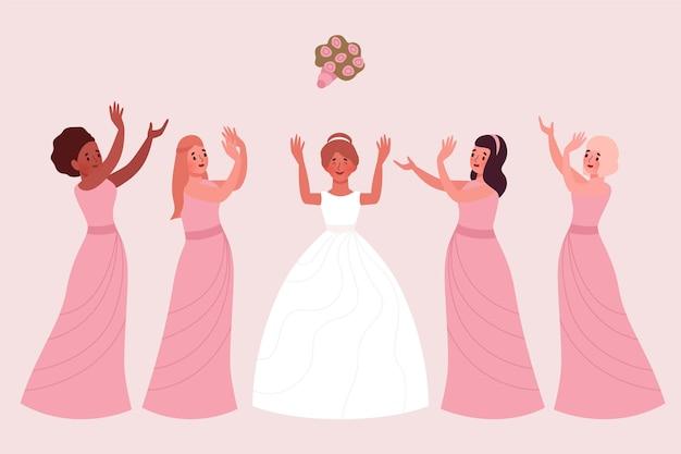 Demoiselles d'honneur plates bio célébrant un jour important