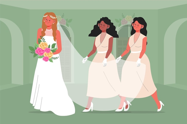 Demoiselles d'honneur plates dans de jolies robes