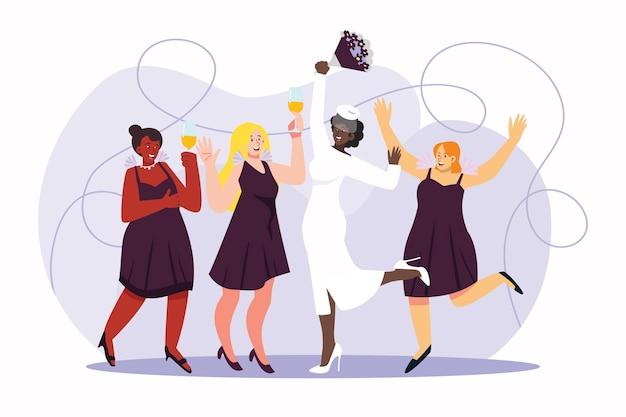 Demoiselles d'honneur plates et groupe de mariée