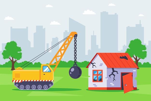 Démolition de l'ancien bâtiment avec des équipements spéciaux. illustration plate.