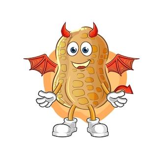 Le démon de l'arachide avec le caractère des ailes. mascotte de dessin animé