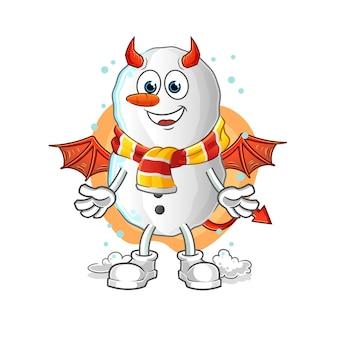 Démon de bonhomme de neige avec mascotte de dessin animé ailes