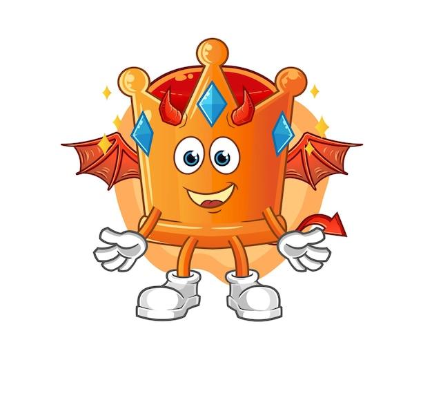 Le démon de la couronne avec des ailes. mascotte de dessin animé