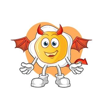 Démon oeuf frit avec personnage de dessin animé ailes