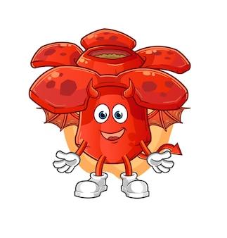 Démon de rafflesia avec mascotte de dessin animé d'ailes. mascotte de dessin animé