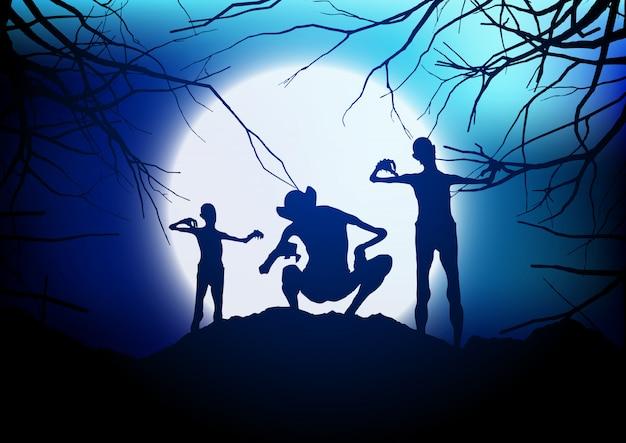 Des démons d'halloween contre un ciel éclairé par la lune