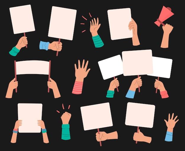 Démonstration de bannières de manifestants, bannières de révolution de prise de main, personnes avec pancarte, signe de manifestant, liberté politique, illustration vectorielle