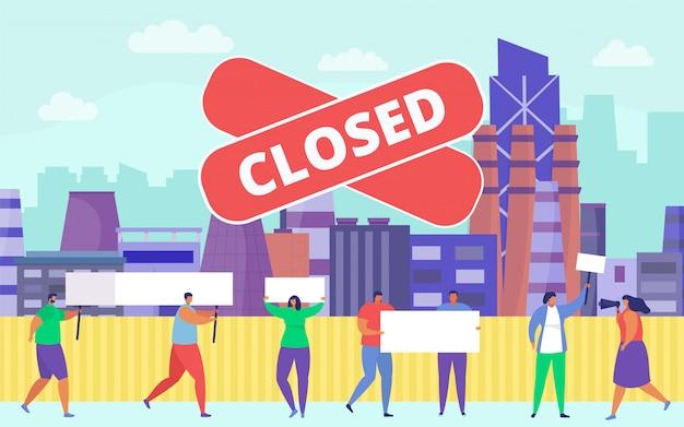 Démonstration de crise commerciale, illustration. groupe de personnes lors d'une manifestation d'entreprise contre une usine fermée, foule avec problème