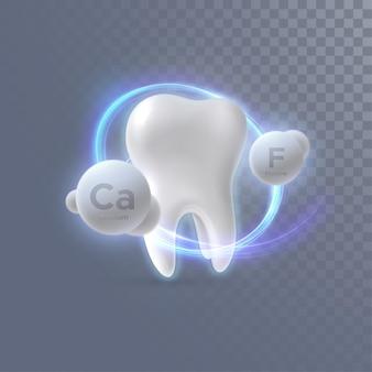 Dent 3d réaliste avec des particules de calcium et de fluor isolées