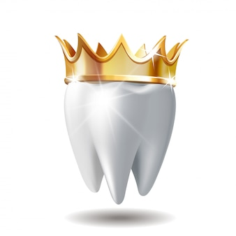 Dent blanche réaliste en couronne dorée isolé sur blanc