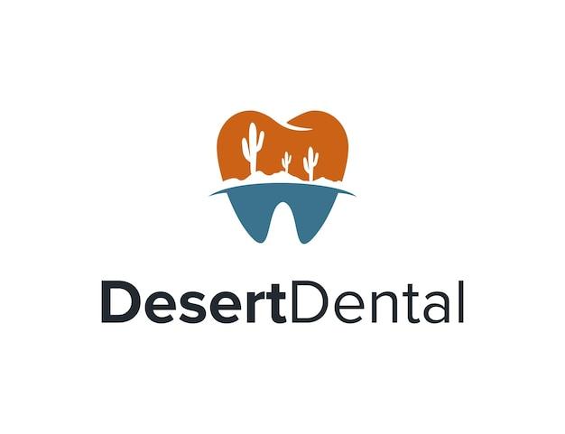 Dent dentaire avec cactus désert simple création de logo géométrique créatif élégant