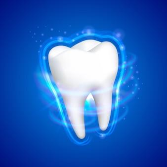 Dent sur fond bleu, élément de conception de modèle, illustration vectorielle