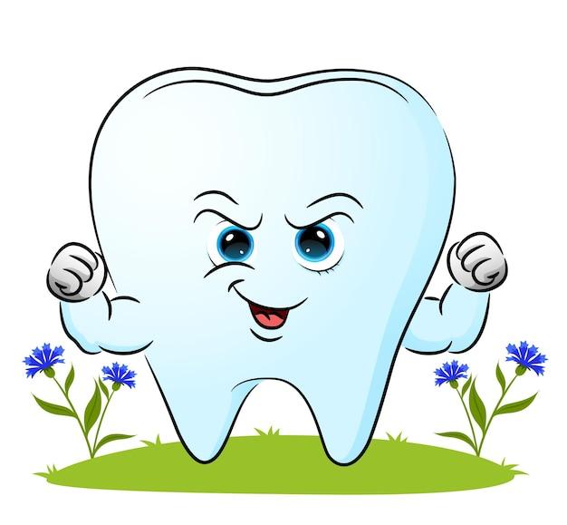 La dent forte avec le gros muscle donne l'expression heureuse de l'illustration