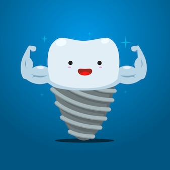 Dent d'implant avec la main musculaire. illustration vectorielle isolée