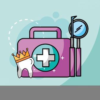 Dent en kit couronne et outils soins dentaires