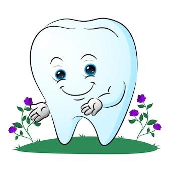 La dent mignonne montre quelque chose dans le jardin de l'illustration