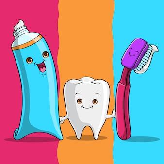 Dent mignonne tenant la brosse à dents et la pâte à dents, dessinés à la main