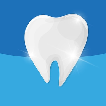 Dent saine sur fond bleu - soins dentaires