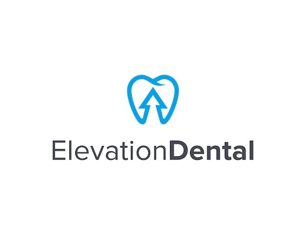Dentaire et flèche vers le haut contour simple et élégant création de logo géométrique moderne
