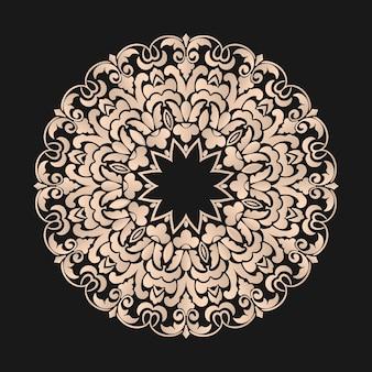 Dentelle ronde ornementale avec éléments damassés et arabesques.