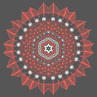 Dentelle ronde ornementale vectorielle avec des éléments damasques et arabesques. mehndi style. orienter l'ornement traditionnel. ornement floral de couleur ronde zentangle.