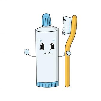 Dentifrice amusant avec brosse à dents. illustration vectorielle plane mignon dans un style de dessin animé enfantin. personnage drôle. isolé sur fond blanc.