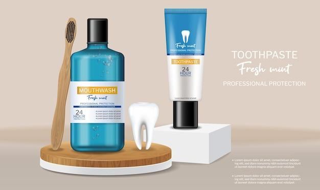 Dentifrice et bain de bouche bio sur scène réaliste
