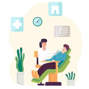 Dentiste, femme, tenue, instruments, et, examiner, patient, homme, dents, regarder, intérieur bouche