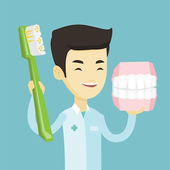 Dentiste avec modèle de mâchoire dentaire et brosse à dents.