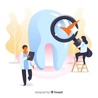 Dentiste plat prenant soin d'un fond de dent