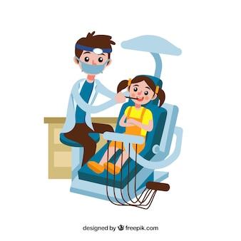 Dentiste traitant l'enfant