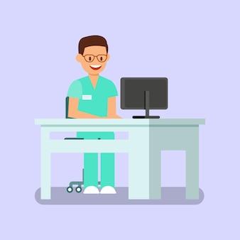 Dentiste travaillant avec ordinateur