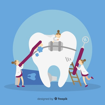 Dentistes prenant soin d'une dent