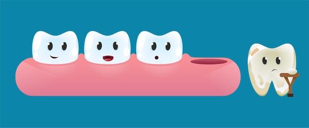 Les dents sur la gencive regardent une dent endommagée avec une béquille