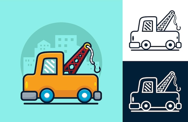 Dépanneuse sur fond de construction. illustration de dessin animé dans le style d'icône plate