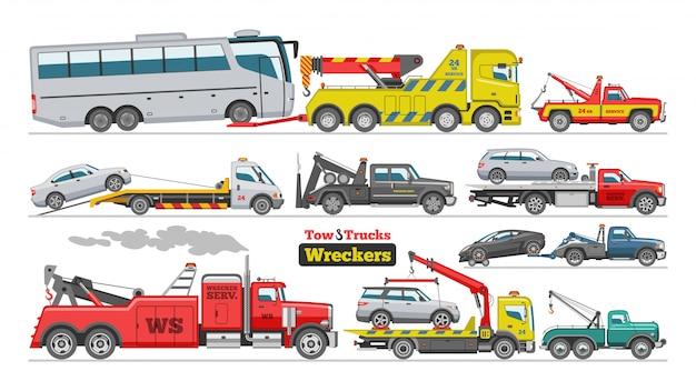 Dépanneuse, remorquage, voiture, camionnage, véhicule, transport bus, remorquage, aide, sur, route, illustration, ensemble, de, remorqué, transport auto, isolé, blanc, fond