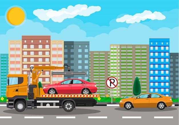 Dépanneuse. service d'assistance routière en ville.