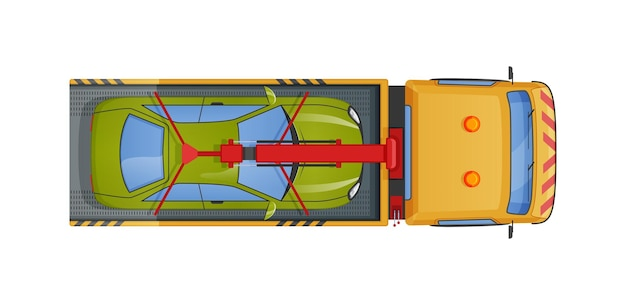 Dépanneuse urbaine transportant la vue de dessus de l'automobile. remorquage ou aide d'urgence sur le transport routier après réparation, accident, mauvais stationnement. conduite d'un évacuateur remorquant un vecteur de voiture cassé ou endommagé à plat