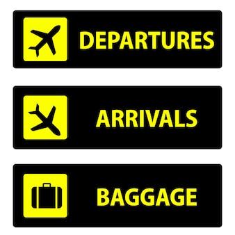 Départ, arrivée, bagages icône ou signe pour la navigation à l'aéroport