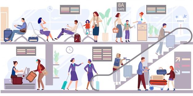 Départ personnes salon au terminal de l'aéroport. les passagers enregistrent les bagages et attendent de partir près de la porte d'embarquement.